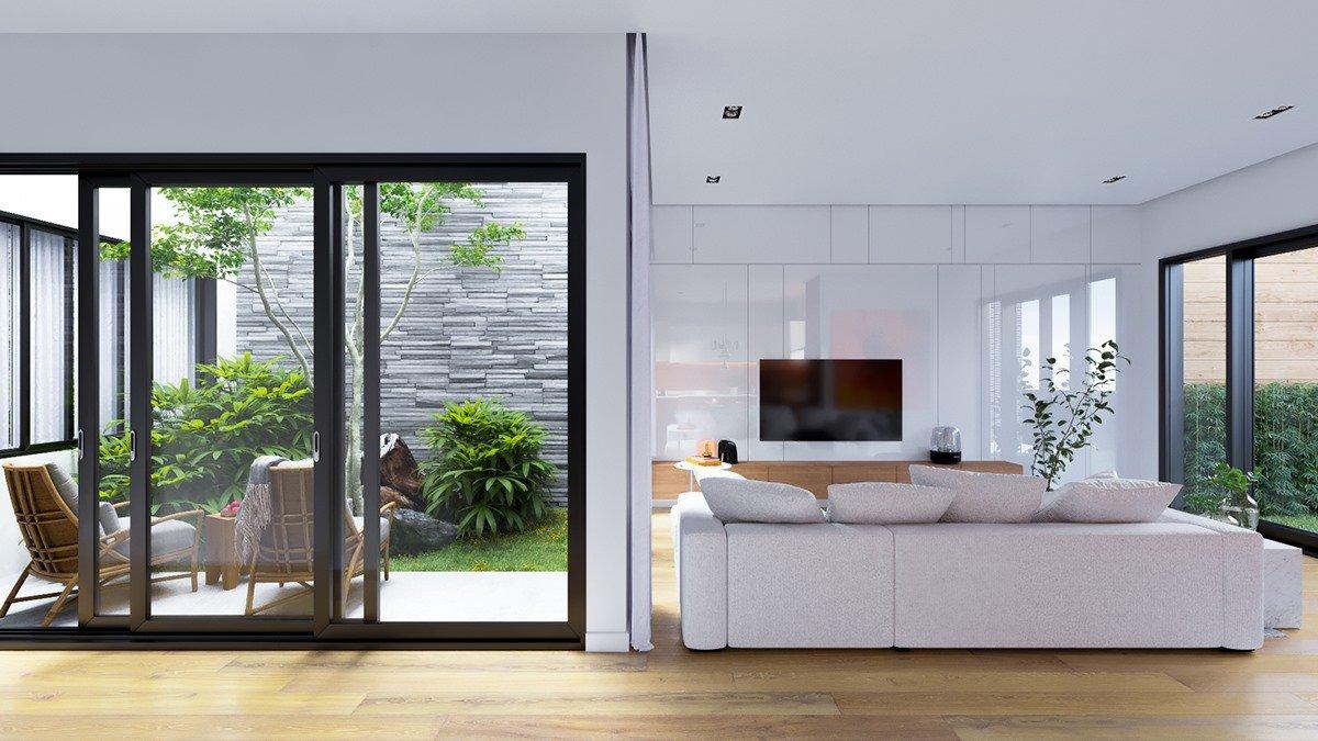 thiết kế phòng khách và sân vườn liên kết đẹp